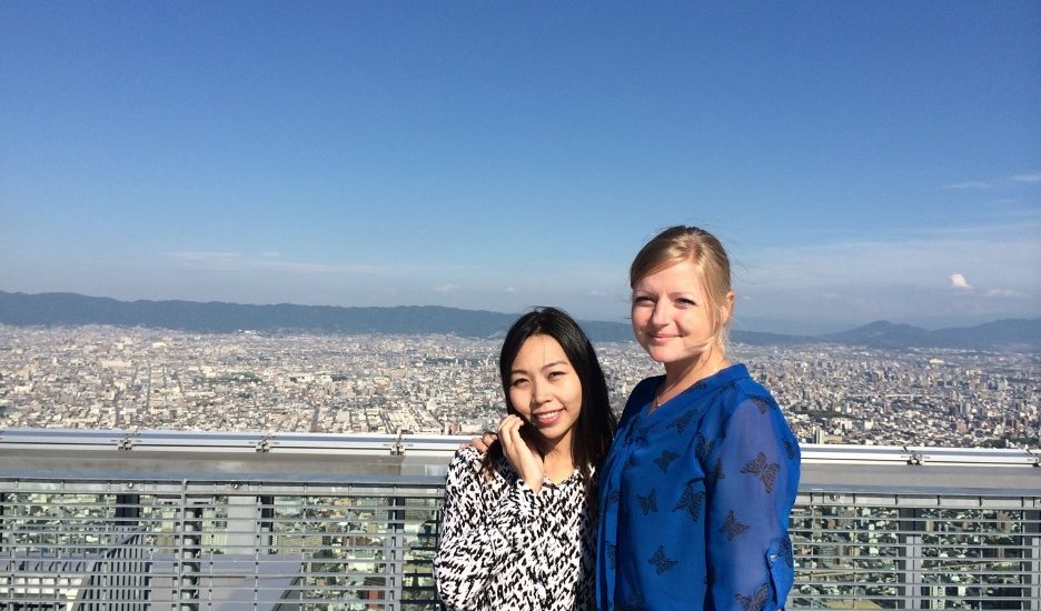 Tessa (right) and Sandy Lin (left) at the Mitsubishi Corporation training in Tokyo