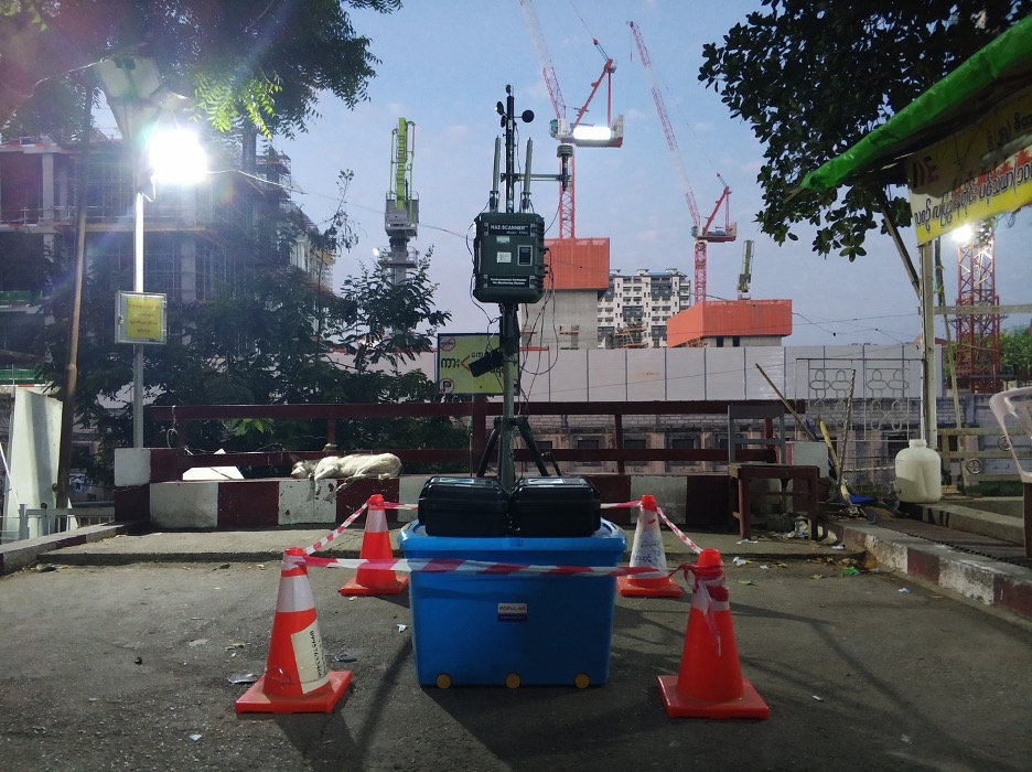 Noise monitoring device in front of Yoma Central
